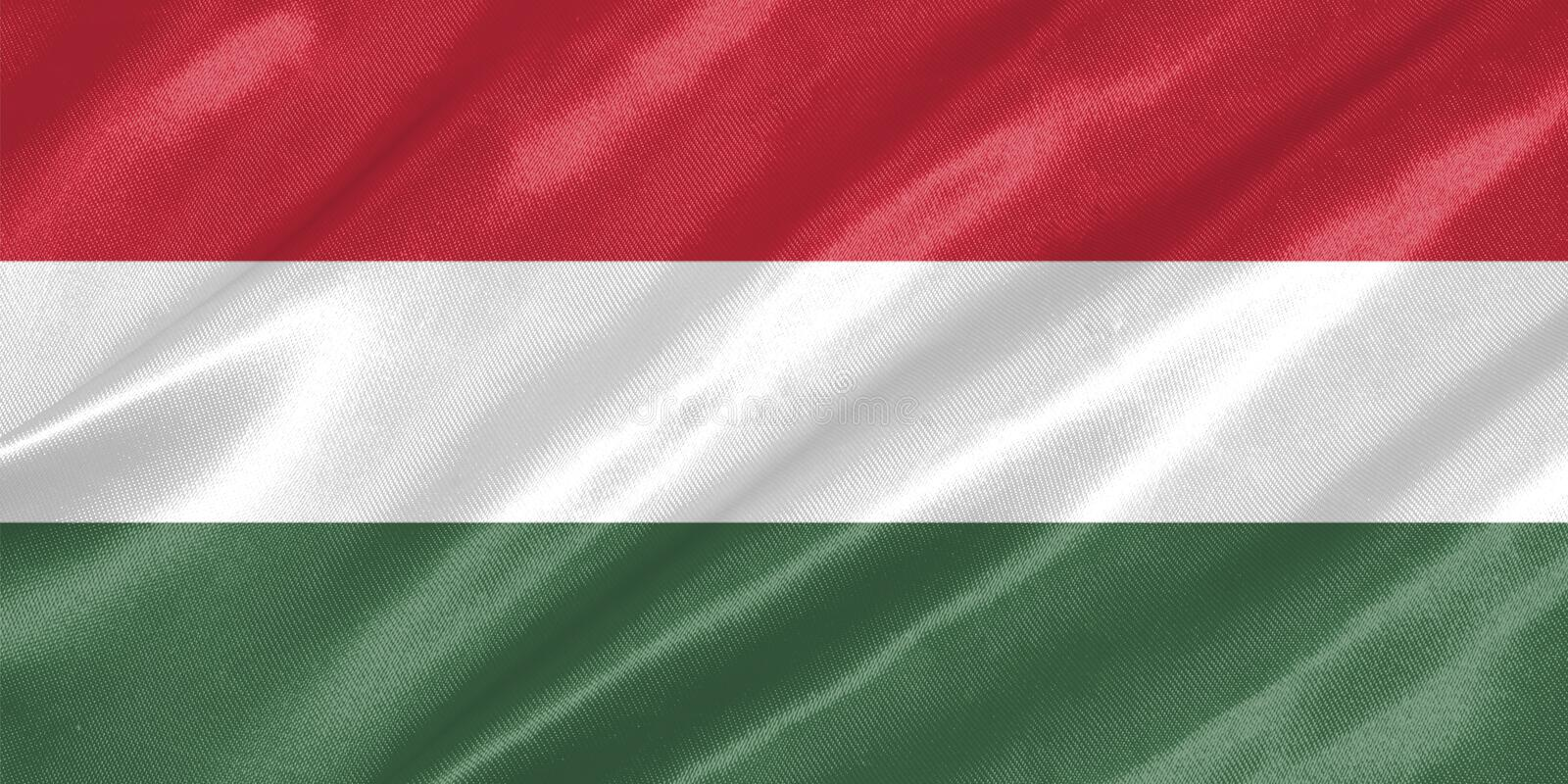 Hungary Flag. With waving on satin texture vector illustration