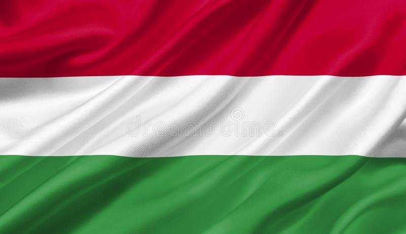 Hungary flag waving with the wind, 3D illustration. 3D rendering stock illustration