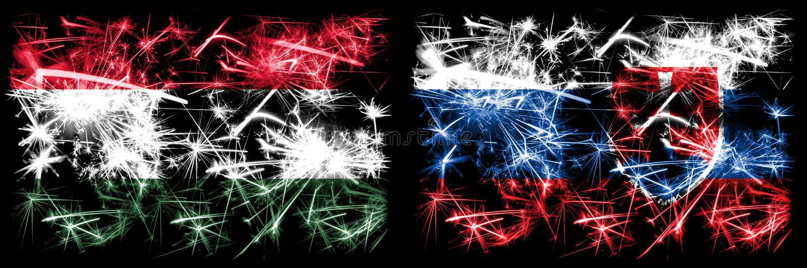 Hungary, Hungarian, Slovakia, Slovakian, flip sparkling fireworks concept and idea flags stock illustration