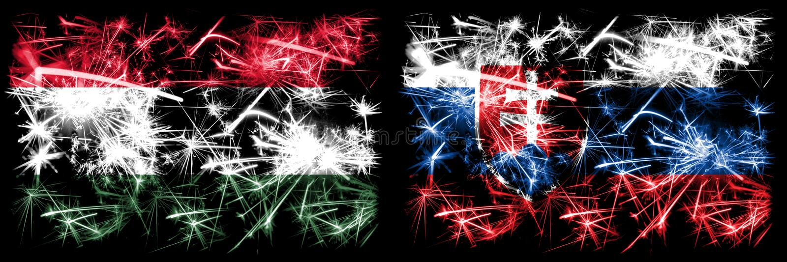 Hungary, Hungarian, Slovakia, Slovakian sparkling fireworks concept and idea flags royalty free illustration