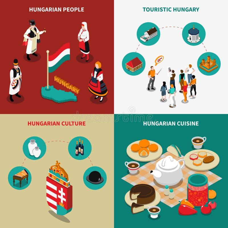 Hungary Isometric Touristic 2x2 Icons Set vector illustration