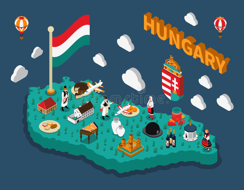 Hungary Isometric Touristic Map. With hungarian flag buildings dishes and people in national costumes vector illustration stock illustration