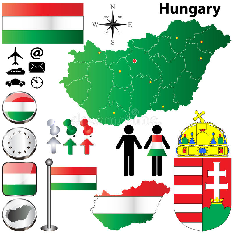 Hungary map. Vector set of Hungary country shape with flags, buttons and icons isolated on white background vector illustration