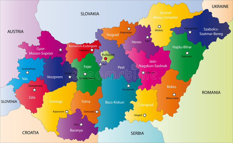 Hungary map. Designed in illustration with the regions colored in bright colors and with the main cities. On an illustration neighbouring countries are shown vector illustration