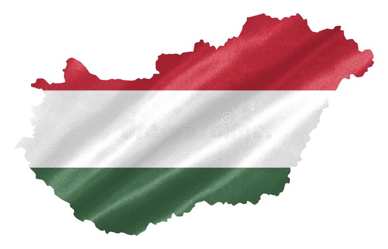 Hungary Map with Flag. Hungary map with waving flag on satin texture isolated on white royalty free illustration