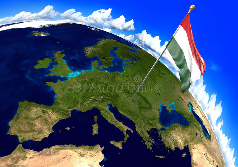 Hungary national flag marking the country location on world map 3d download hungary national flag marking the country location on world map 3d rendering stock illustration gumiabroncs Images
