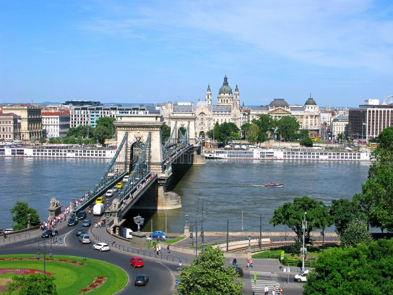 Hungary, panorama of Budapest, Széchenyi Chain bridge, Danube river, top view royalty free stock photos