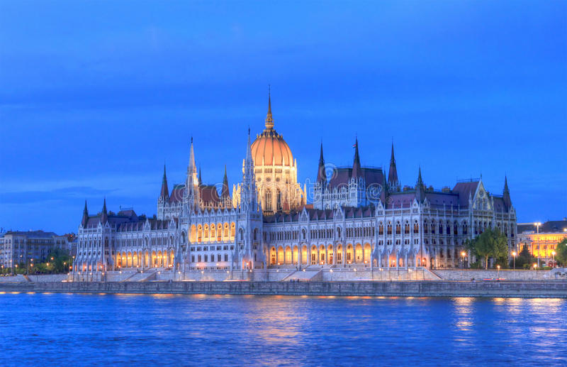 Hungary Parliament, Budapest. View of Hungarian parliament building in Budapest at the blue hour. HDR image using tone mapping