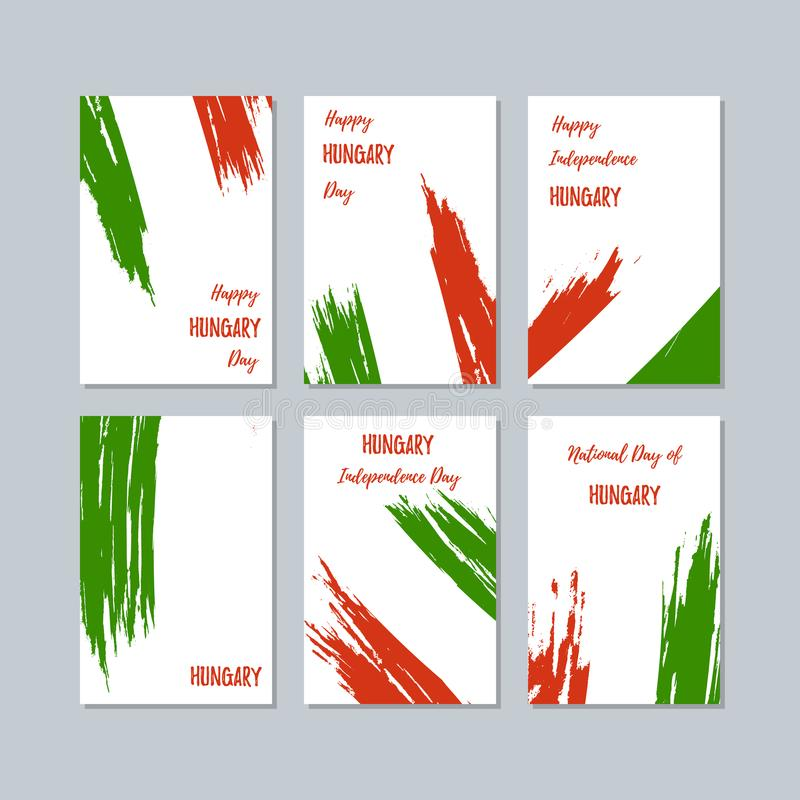 Hungary Patriotic Cards for National Day. Expressive Brush Stroke in National Flag Colors on white card background. Hungary Patriotic Vector Greeting Card stock illustration