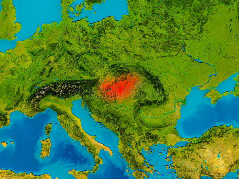 Hungary on physical map stock illustration Illustration of