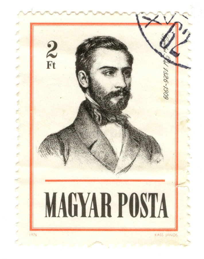 Hungary postmark. Vintage Hungary Postage Stamp on White Background. Scan the image stock images