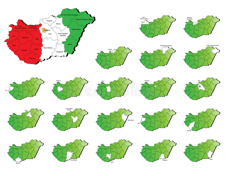 Hungary provinces maps stock illustration