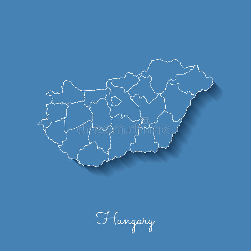 Hungary region map: blue with white outline and. Hungary region map: blue with white outline and shadow on blue background. Detailed map of Hungary regions vector illustration
