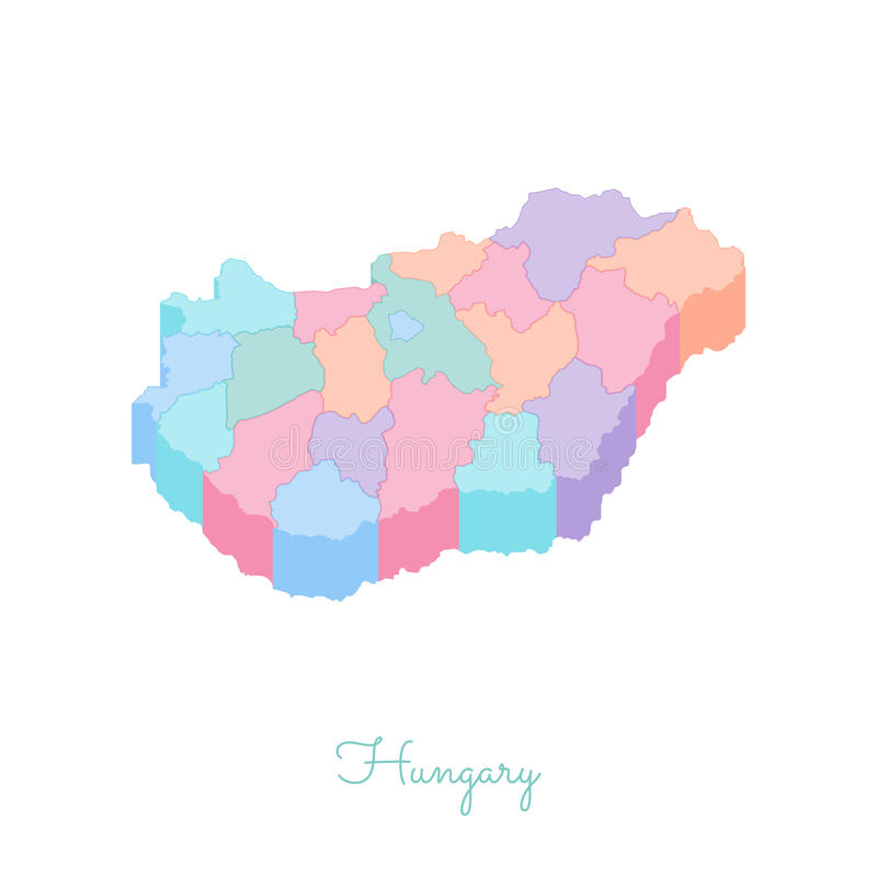 Hungary region map: colorful isometric top view. royalty free illustration