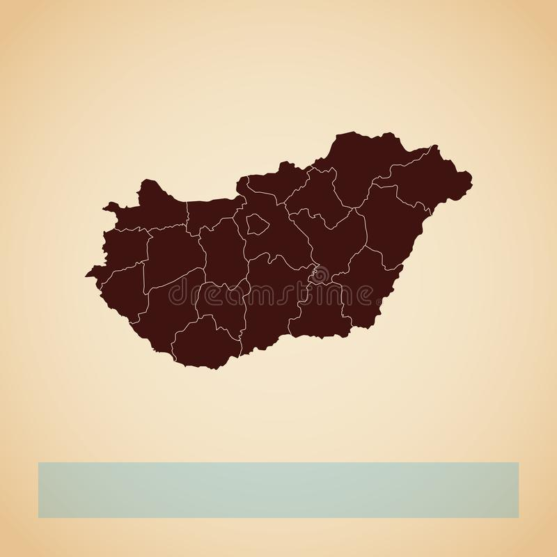 Hungary region map: retro style brown outline on. Hungary region map: retro style brown outline on old paper background. Detailed map of Hungary regions. Vector vector illustration