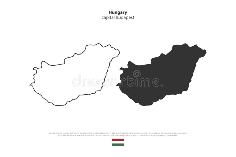 Hungary. Republic of Hungary isolated map and official flag icons. vector Hungaian political maps illustration. Central Europe country geographic banner template royalty free illustration