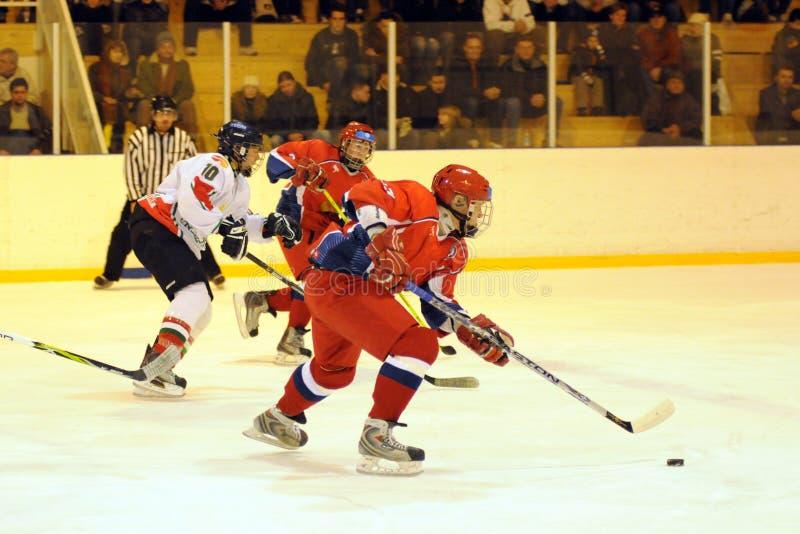 Hungary - Russia youth national ice-hockey match royalty free stock image