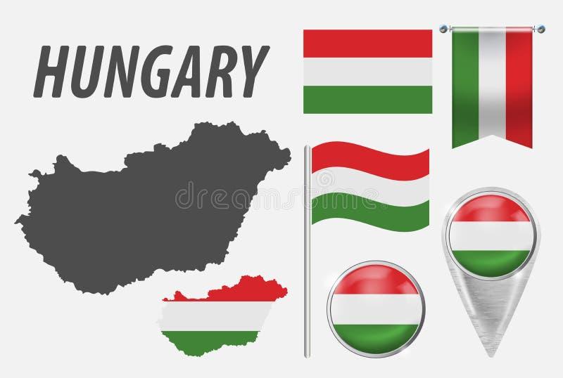 hungary Samling av symboler i färgnationsflagga på olika objekt som isoleras på vit bakgrund Flagga pekare, knapp, royaltyfri illustrationer