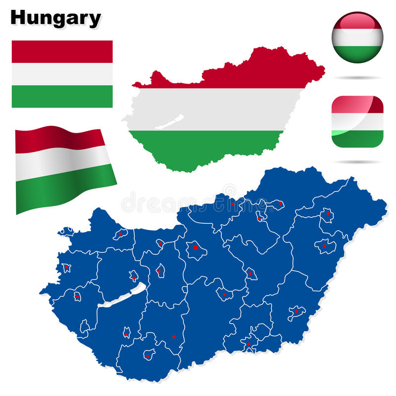 Hungary set. Detailed country shape with region borders, flags and icons isolated on white background stock illustration