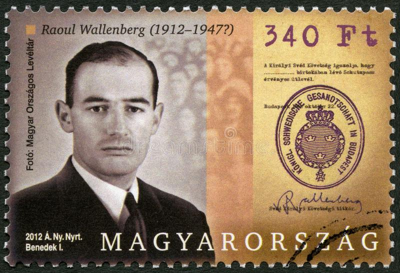 HUNGARY - 2012: shows Raoul Gustaf Wallenberg 1912-1945, Swedish architect, businessman, diplomat and humanitarian. HUNGARY - CIRCA 2012: A stamp printed in stock image