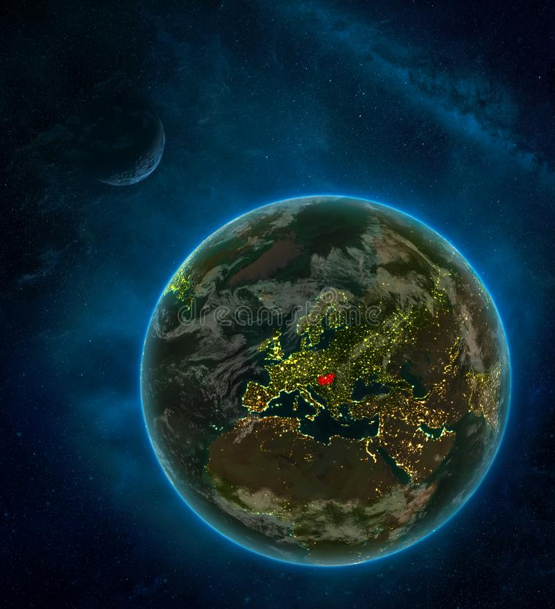 Hungary from space on Earth at night surrounded by space with Moon and Milky Way. Detailed planet with city lights and clouds. 3D. Illustration. Elements of vector illustration