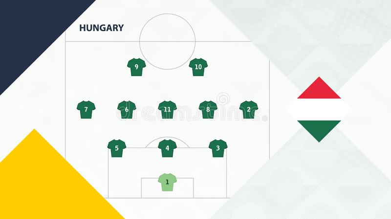 Hungary team preferred system formation 3-5-2, Hungary football team background for European soccer competition.  stock illustration