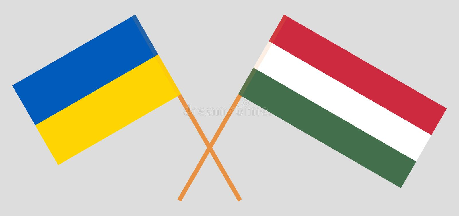 Hungary and Ukraine. The Hungarian and Ukrainian flags. Official proportion. Correct colors. Vector. Illustration vector illustration
