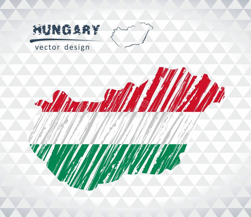 Hungary vector map with flag inside isolated on a white background. Sketch chalk hand drawn illustration. Vector sketch map of Hungary with flag, hand drawn royalty free illustration
