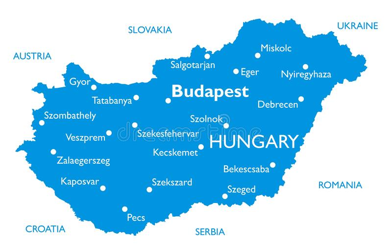 hungary ?versiktsvektor royaltyfri illustrationer