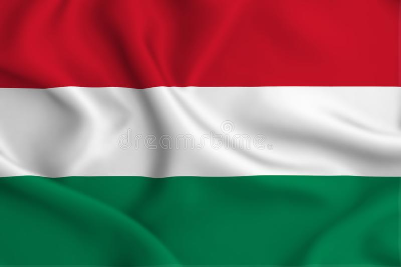 Hungary flag illustration. Hungary waving and closeup flag illustration. Perfect for background or texture purposes vector illustration