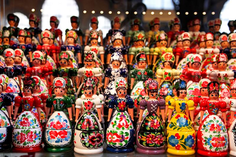 Wooden dolls. Hungary - Wooden dolls in hungarian folk costumes royalty free stock photography