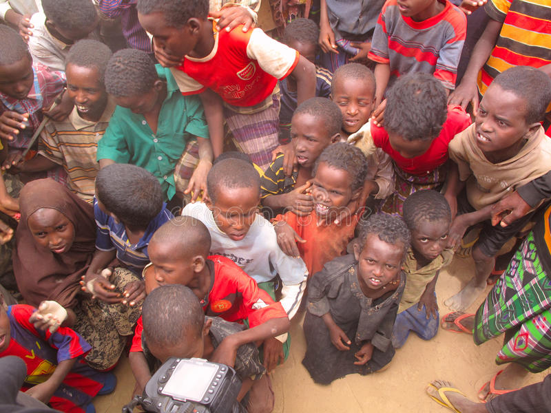 Hunger Refugee Camp stock photo