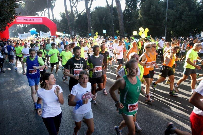 Hunger Run (Rome) - World Food Program - Crowd runners start royalty free stock photo