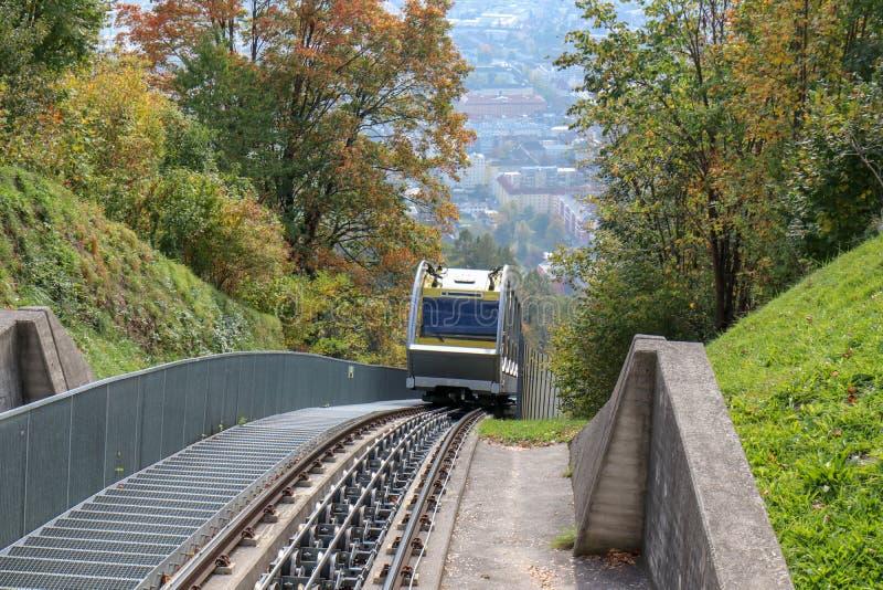 Hungerburgbahn with wagon funicular in Innsbruck, Austria. Innsbruck, Austria - oct 18, 2018. Hungerburgbahn with wagon funicular in Innsbruck, Austria royalty free stock photos