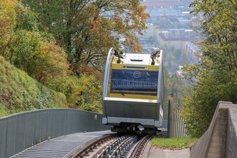 Hungerburgbahn with wagon funicular in Innsbruck, Austria. Innsbruck, Austria - oct 18, 2018. Hungerburgbahn with wagon funicular in Innsbruck, Austria royalty free stock image
