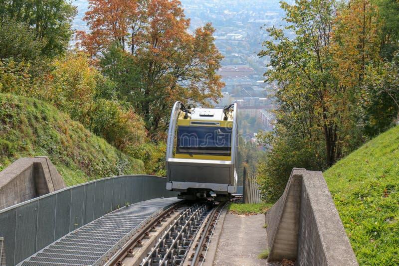 Hungerburgbahn with wagon funicular in Innsbruck, Austria. Innsbruck, Austria - oct 18, 2018. Hungerburgbahn with wagon funicular in Innsbruck, Austria stock photography