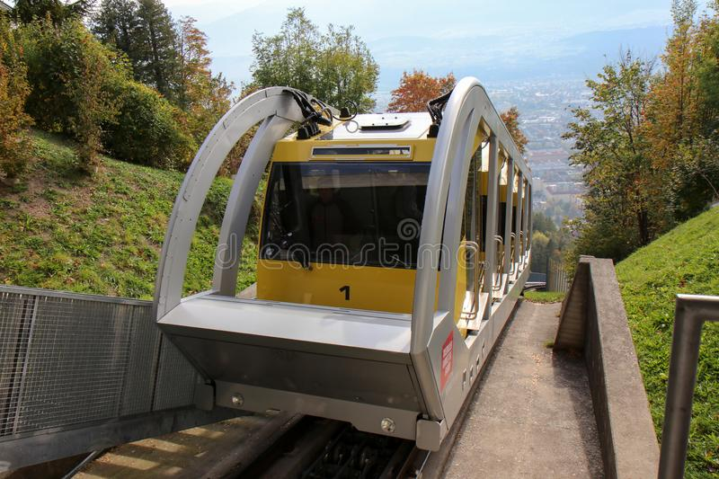 Hungerburgbahn with wagon funicular in Innsbruck, Austria. Innsbruck, Austria - oct 18, 2018. Hungerburgbahn with wagon funicular in Innsbruck, Austria royalty free stock photography