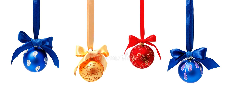 hunging圣诞节球的照片的汇集被隔绝 免版税库存照片