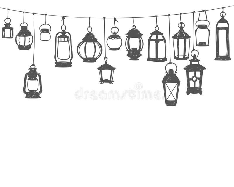 Hunging灯笼 在白色乱画例证的黑色 库存例证