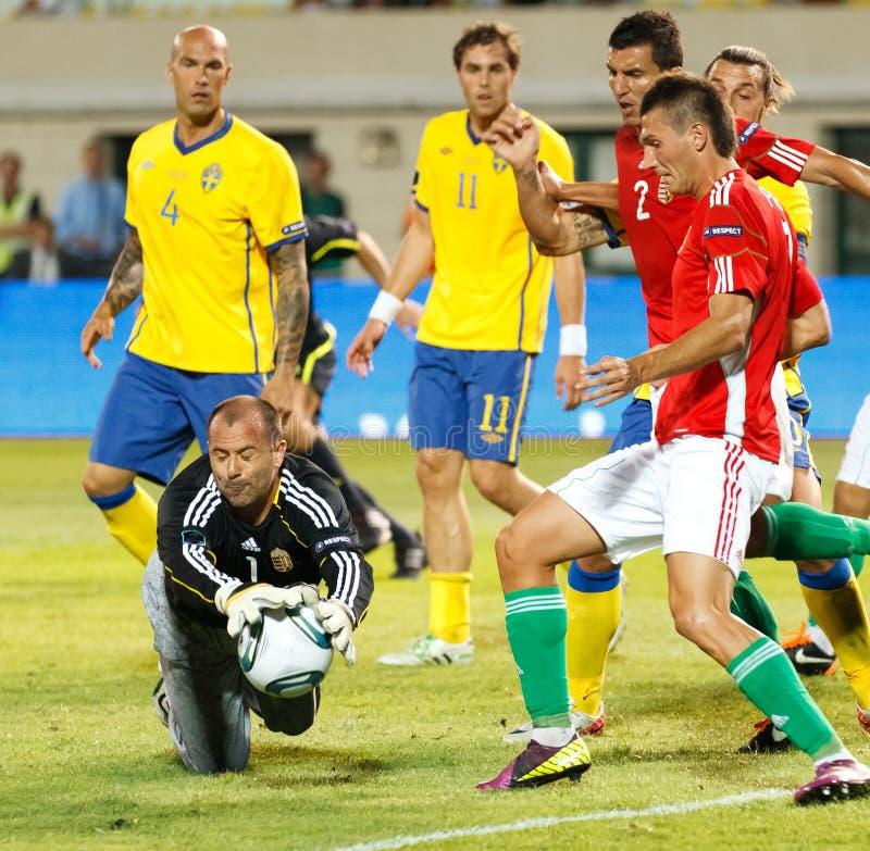 Hungría contra el partido de fútbol de Suecia foto de archivo