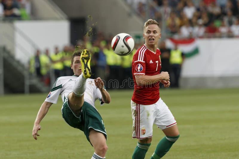 Hungría contra Países Bajos Fútbol 2016 del calificador del euro de la UEFA de Irlanda del Norte m imágenes de archivo libres de regalías