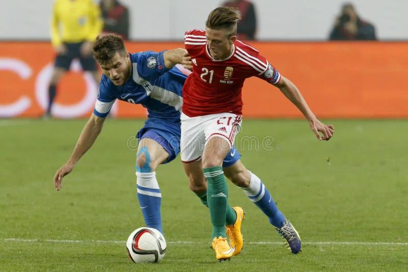 Hungría contra Países Bajos Partido 2016 de fútbol del calificador del euro de la UEFA de Finlandia imagenes de archivo