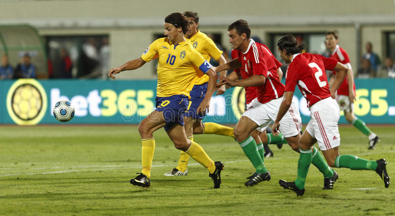 Hungría contra Suecia, calificador de la taza de mundo de la FIFA foto de archivo