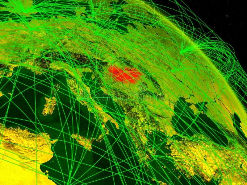 Hungría en el globo digital stock de ilustración