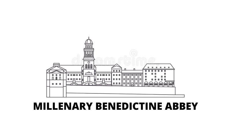 Hungría, línea benedictina milenaria sistema de la abadía del horizonte del viaje Hungría, vector benedictino milenario de la ciu ilustración del vector