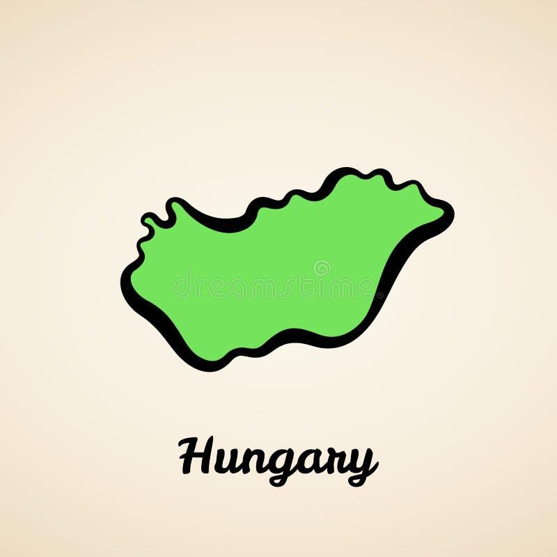 Hungr?a - mapa del esquema stock de ilustración