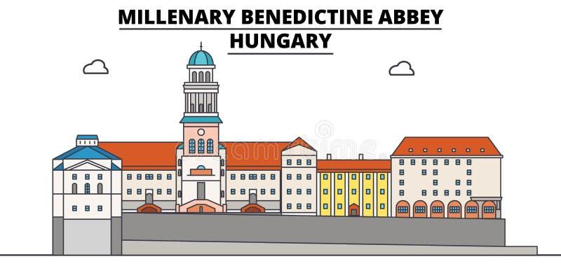 Hungria, abadia milenária do licor beneditino, ilustração do vetor da skyline do curso ilustração stock