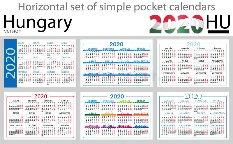 Hungria ajustou-se de calendários do bolso para 2020 ilustração stock