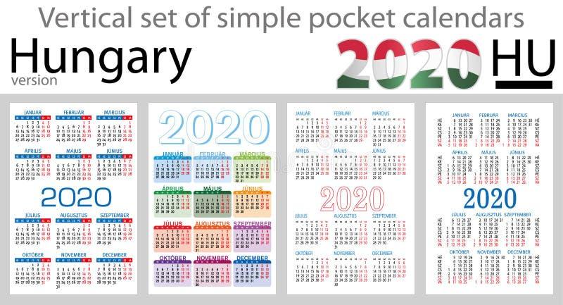 Hungria ajustou-se de calendários do bolso para 2020 ilustração royalty free