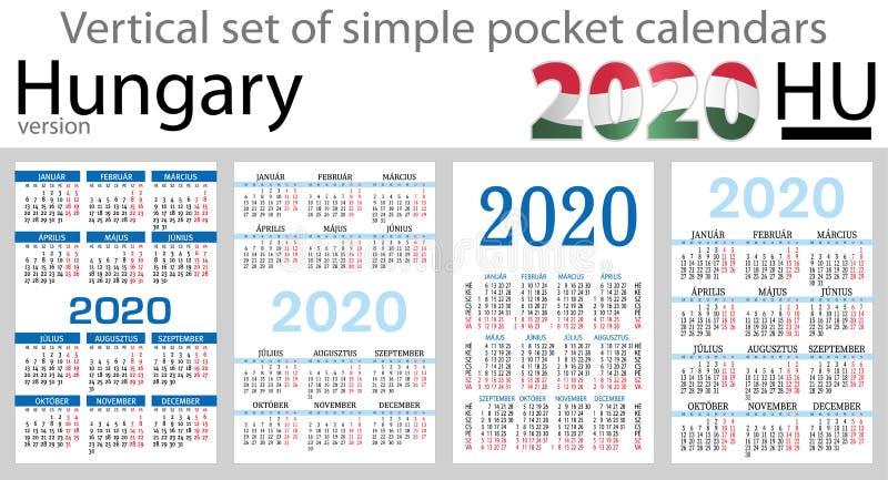 Hungria ajustou-se de calendários do bolso para 2020 ilustração do vetor